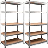 Deuba scaffale x 2 alta portata metallo portata fino a 875kg 180x90x40cm 5 ripiani