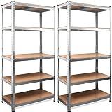 Monzana Stellingkast 2 stuks Opbergkast - Planken 180 x 90 x 40 cm - 875 kg Draagvermogen Rekken 5 Niveaus Metalen frame - MD