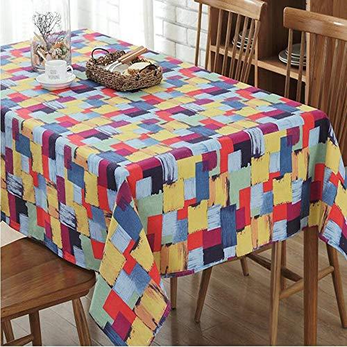 WESYY Tischdecke Tischläufer Tischtuch Tischwäsche Tischdekoration Tafeltuch canvas Colorful 120x120