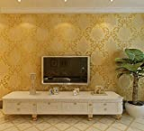XiYunHan 3D Vliestapete Damaskus Einfache europäischen Stil Schlafzimmer Tapete Wohnzimmer TV Hintergrundbild Edle kaufen Drei Bekommen Eins (Color : Gold)