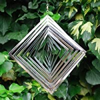 Pieza giratoria de viento en forma de diamante, hecha de acero, para el jardín