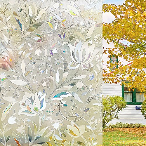 Homein 3D Selbsthaftende Fensterfolie Sichtschutzfolie statische Glasfolie selbstklebend ohne Kleber Blickdicht Static Window Film Klebefolie mit Motiv UV Schutz bunt geblümt Blumen Muster 44.5 x 200 cm