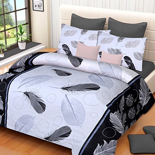 Home Elite Dynamic Print 120 TC Cotton Double Bedsheet with 2 Pillow...