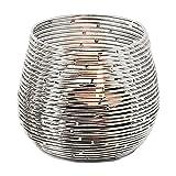 EDZARD Windlicht Roseville, Höhe 9 cm, Metall vernickelt