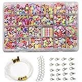 Ewparts 24 Arten Bunte Baby Perlen für Armbänder Stirnband Handwerk Perlen für Kinder DIY Armband, Perlenschnur, der Satz bildet, kultiviert Farben empfindlich, Farbe verbläßt nicht baby spielzeug (Retro style)
