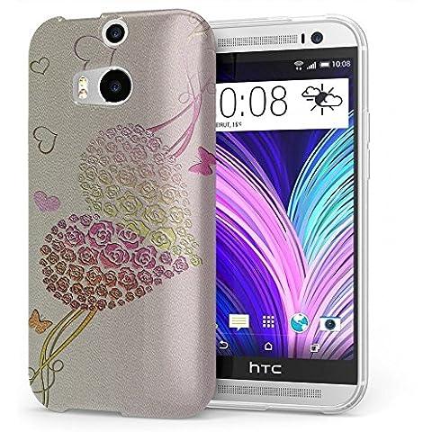 Amore 10013, Cuore, Cristallino Custodia Protettiva in Gel Silicone Caso Ultra Sottile Copertura con Disegno Strutturato per HTC One M8
