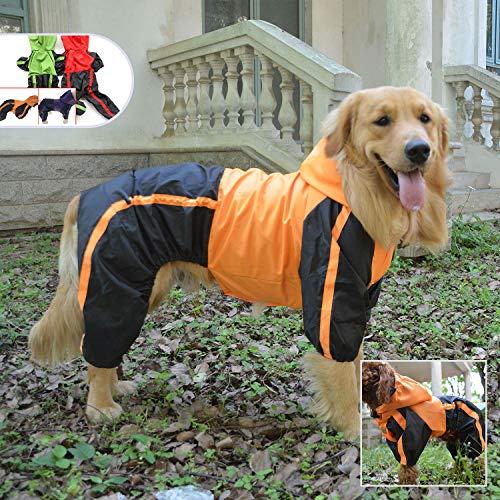 lovelonglong Hunde Regenmantel mit Hoodie, Atmungsaktive Regenjacke mit Vier Beinen im Freien Einstellbare wasserdichte Regenjacke für Kleine, Mittel, Große Hunde Orange L-XL+