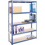 Scaffale per Garage – Scaffalatura – 180cm x 120cm x 40cm – Blu – 5 Ripiani (175Kg a ripiano) – Capacità di carico 875Kg – 5