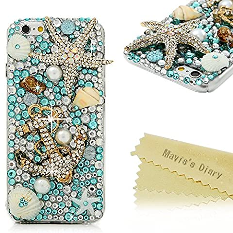 iPhone 6 Case , iPhone 6S Case Cover , Mavis's Diary Luxury 3D Handmade Bling Crystal Gems Light Blue Diamonds Clear Hard PC Cover with Starfish and Anchor for iPhone 6 & iPhone 6s 4.7''