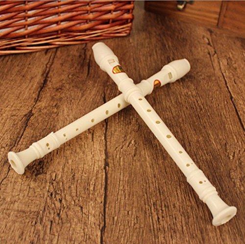 zhjz Studenten Weiß Kunststoff 8Löcher Flöte Kind Spielzeug Musikinstrument