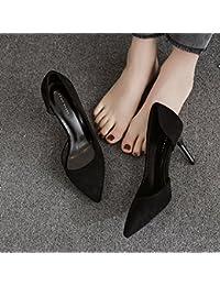 GAOLIM Zapatos De Tacón Negro Con La Punta De Un Singles Femeninos Zapatos Vacía De Verano Lateral De 7Cm De Carrera...