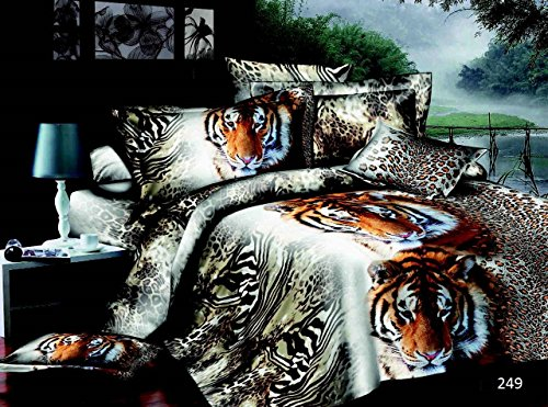 3D 4 PIECES COMPLETE BEDDING SET INCLUDES 1 DUVET/QUILT COVER 1 FITTED SHEET 2 OXFORD STANDARD PILLOW CASES DESIGN BEAUTIFUL TIGER MATERIAL 100% POLYESTER BUT FEEL JUST LIKE SOFT COTTON SIZES AVAILABLE SINGLE DOUBLE AND KING (King, Design 249)