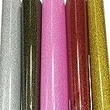 5 Blatt Transferpapier Vinylfolien T-Shirt Folie Transferfolie Textilfolie Glitzer zum Aufbügeln auf Textilien DIY 25.5x25.5cm Mehrfarbig
