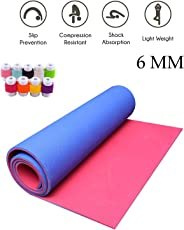 Easypro Combo of Dual Layer Fitness Non Slip Yoga mat 6mm Thick (Red-Blue) With Cable Protector