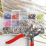 in Aufbewahrungsbox, 150 Sets, 10 Farben, 9,5 mm Metall Ring mit Krappenfassung mit Druckknöpfe aus Befestigung Zange für baby-Lätzchen, bandana, Schlüsselanhänger, Schnuller-Clips