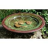 Beautifully Coloured and Glazed Bird Bath With 3 Glazed Mounting Feet