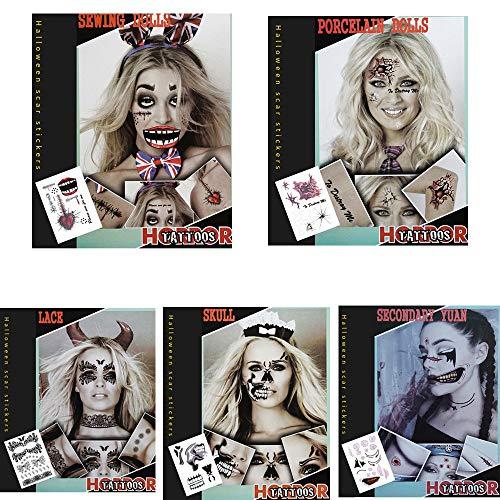 Halloween Fake und echte Temp Tattoo Aufkleber 8pcs schreckliche Narbe Tattoo in einem Paket ()