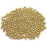 100×Chytaii Kunstperlen Wachsperlen Metallperlen Perlen Deko mit Loch für Basteln DIY Handwerk Schmuckherstellung Golden 4MM