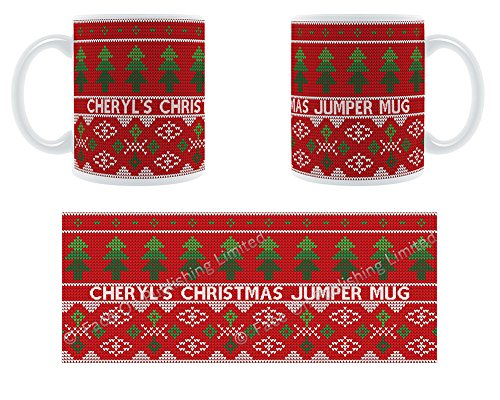 Cheryl's Christmas Jumper Becher-Weihnachtsbäume aus Keramik Becher-Design, personalisierbar -