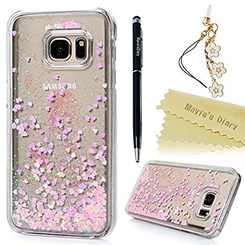 S7 Case ,Galaxy S7 Case - Mavis's Diary Bling Shiny Fluid Liquid Floating Flowing Pink Love Hearts Sparkle Glitter Design Crystal Clear Plastic Hard Case Protective Shell Case Cover for Samsung Galaxy S7 with One Dust Plug & One Stylus