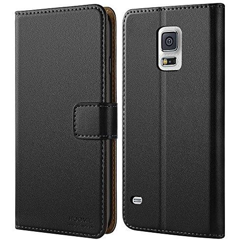 Galaxy S5 Hülle,HOOMIL Premium Handy Schutzhülle für Samsung Galaxy S5 / S5 Neo Hülle Leder Wallet Tasche Flip Brieftasche Etui Schale, Schwarz (H3001)