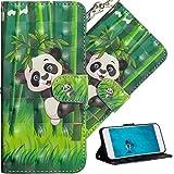 COTDINFOR pour Nokia 7 Plus Coque Élégant 3D Effet Peint PU Portefeuille Étui en Cuir Cover Stand Shell Bumper Housse pour Nokia 7 Plus/Nokia 7+ Climbing Bamboo Panda YX.