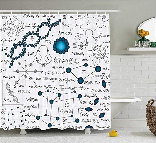 Abstrakte Duschvorhang Wissenschaft Physik DNA Molekül Formeln Atomic Chemical Analysen Display Stoff Dekor Set mit lang Baby und Petrol Blue - Wissenschaft Duschvorhänge
