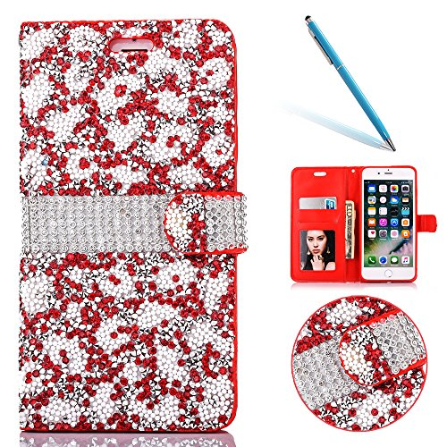 "Cover pour Apple iPhone 7 4.7"", CLTPY Mignon Paillette Flash Diamond Motif Style Design avec Magnetique et Fente de Carte Full Body Wrap Back Cover Case Couvrir pour iPhone 7 + 1x Stylet - Argenté 3 Red"
