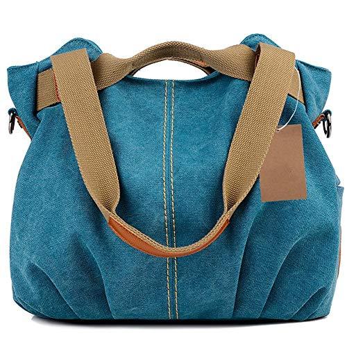 SONG-Q Frauen Damentaschen Lässig Vintage Hobo Canvas Mehrfachtasche Täglicher Geldbeutel Messenger Top Griff Schulter Großer Tote Shopper Handtasche Einkaufstascheblau -