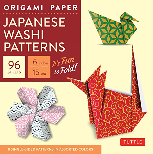 """Origami Paper - Japanese Washi Patterns - 6"""" - 96 Sheets: Tuttle Origami Paper: High-Quality Origami Sheets Printed with 8 Different Patterns: Instructions for 7 Projects Included"""