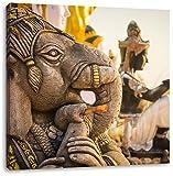Elefantengottheit in Thailand, Format: 40x40 auf Leinwand, XXL riesige Bilder fertig gerahmt mit Keilrahmen, Kunstdruck auf Wandbild mit Rahmen, günstiger als Gemälde oder Ölbild, kein Poster oder Plakat
