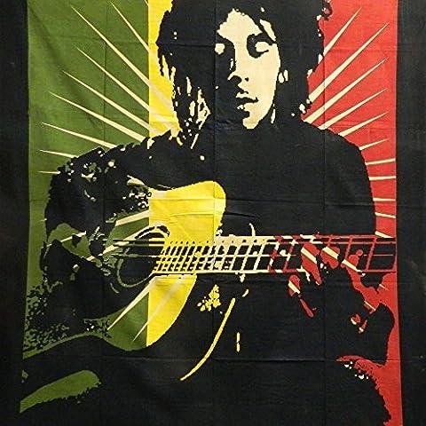 Copriletto Bob Marley Chitarra 210x140cm cotone Reggae Jamaica Mano d'opera India