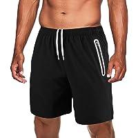 TACVASEN Men's Lightweight Running Shorts Quick Drying Gym Shorts with Zip Pockets