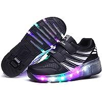 LED Chaussures à roulettes de Skateboard 7 Couleurs Clignotante Chaussure de Sport avec Rouleau Haute Multisports…