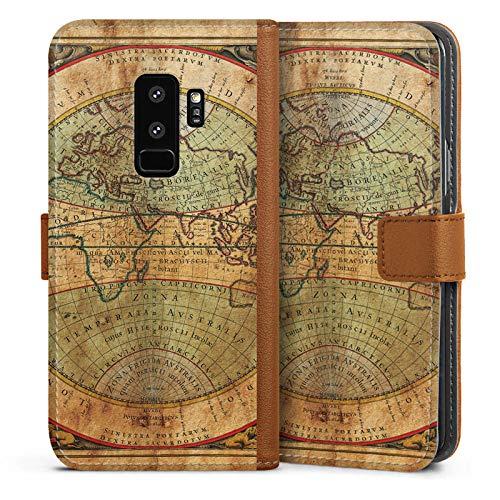 Antik Leder Karte (DeinDesign Tasche kompatibel mit Samsung Galaxy S9 Plus Leder Flip Case Ledertasche Antike Weltkarte Map Karte)