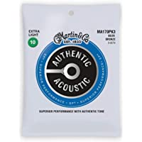 Martin MA170PK3 Authentic Acoustic - SP - 80/20 Bronzo 3 Pack Extra Light (10-47)