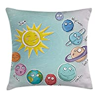 tgyew Space Throw Pillow Cushion Cover, Cute Cartoon Sun and Planets of Solar System Fun Celestial Chart Baby Kids Nursery Theme, Decorative Square Accent Pillow Case, 18 X 18 Inches, Multi