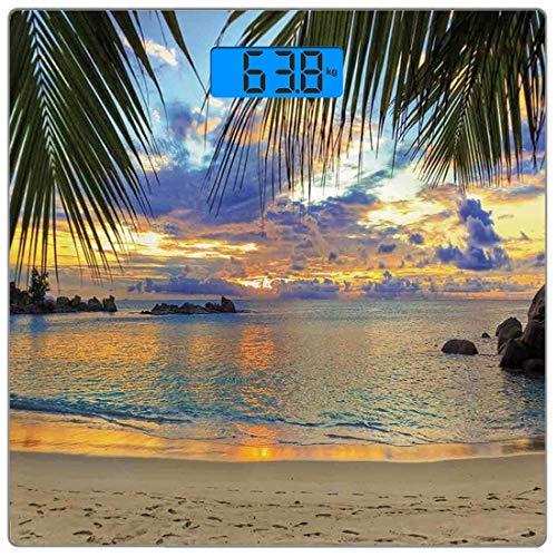 Digitale Präzisionswaage für das Körpergewicht Platz Küsten Dekor Ultra dünne ausgeglichenes Glas-Badezimmerwaage-genaue Gewichts-Maße,Sonnenuntergang am Strand, der Ozean-luxuriöses Erholungsort mit -
