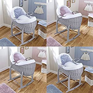 Clair de Lune Stars & Stripes Grey Crossover Noah Pod Wicker Moses Basket