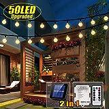 50 LED Solar Lichterkette und Batterie(2 in 1) Outdoor Lichter Wasserfest Gartenlicht 8 Modus 7 Meter Kristallbälle Weihnachtsdeko Fernbedienung und Timer für Außen Garten, Terrasse,Partys Warmes Weiß