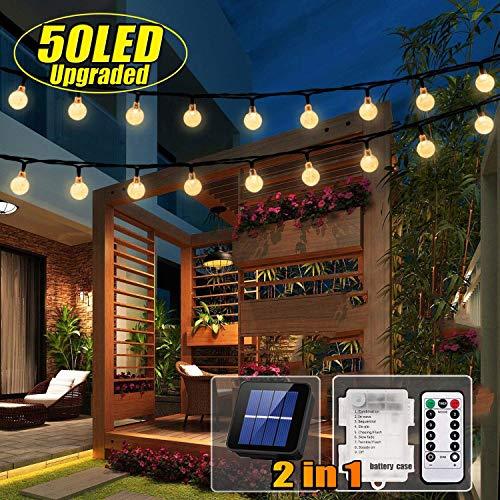 50 LED Solar Lichterkette und Batterie(2 in 1) Outdoor Lichter Wasserfest Gartenlicht 8 Modus 7 Meter Kristallbälle Weihnachtsdeko Fernbedienung und Timer für Außen Garten, Terrasse,Partys Warmes Weiß -