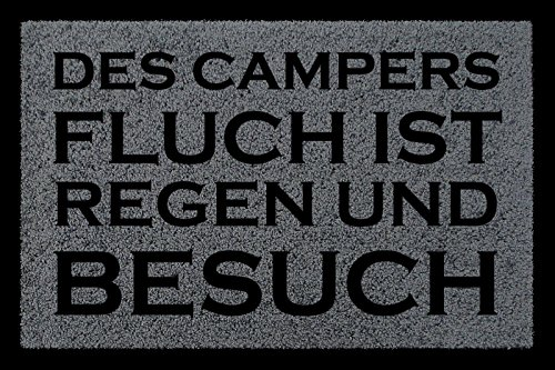 FUSSMATTE Schmutzmatte DES CAMPERS FLUCH Lustig Camping Wohnwagen Viele Farben Dunkelgrau