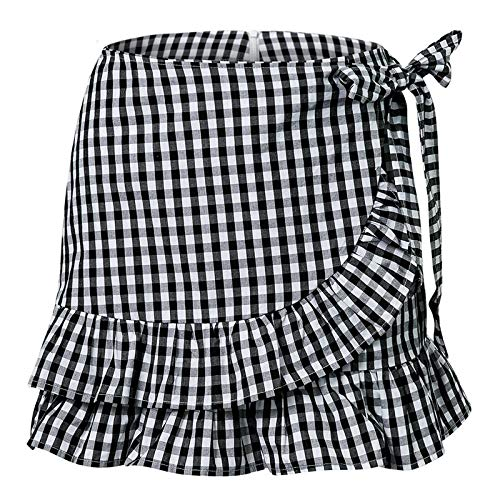 XGDLYQ schwarz weiß Karierten Rock Sommer rüschen Bogen reißverschluss zurück Vintage Rock Frauen mädchen Femme Streetwear Stil Casual Rock m schwarz