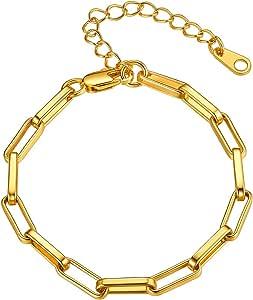 FOCALOOK - Braccialetto da donna a catena semplice, alla moda, regolabile, colore: Argento/Oro