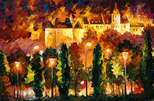 Van Eyck City Notte Paesaggio Colorful Palette Coltello Olio Stampe
