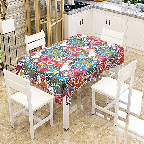 QWEASDZX Mantel Druck Digital Mandalas ölbeständig und wasserdicht multifunktionale Mantel Geeignet für Innen- und Außendekoration Vintage-Tischdecke quadratischen Tisch 140x180cm -