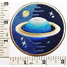 Saturno y luna espacio Explorer parche logotipo Cartoon Kid Patch Iron-On bordado a mano y coser símbolo chaqueta camiseta parches apliques accesorios