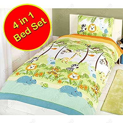 Jungle Boogie 4 in 1 Junior Bedding Bundle (Duvet + Pillow + Covers)