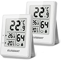 ELEGIANT 2PCS Thermomètre Hygromètre Numérique, Thermomètre Interieur Humidité/Température Mesure Haute Précision ℃/℉ Commutable, Indication du Niveau de Confort pour Jardin Cusine Bureau Blanc
