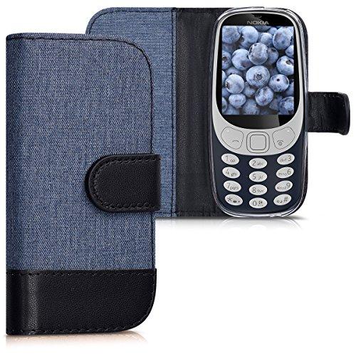 kwmobile Hülle für Nokia 3310 (2017) - Wallet Case Handy Schutzhülle Kunstleder - Handycover Klapphülle Dunkelblau Schwarz